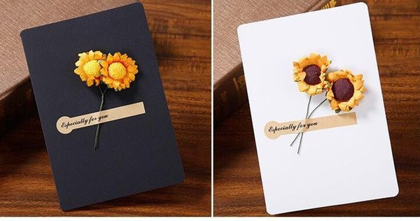 Hand-Made Christmas Festival Greeting Cards Dried Flower Decoration DIY Vintage Kraft Paper Thank You Cards Anniversary Birthday Card