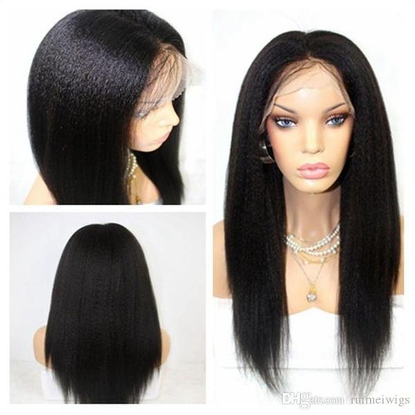 Yaki Kinky Straight Full Lace Glueless Lace Front Human Hair Wigs for Black Women with Baby Hair Virgin Human Hair Italian Yaki Wig