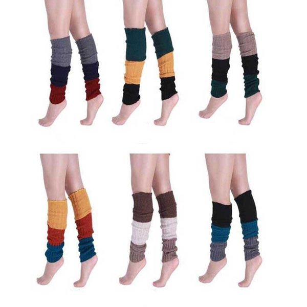Contrast Color Boot Leg Warmers Winter Warm Slim Knee Stockings Socks for Women Fashion Drop Ship 010100