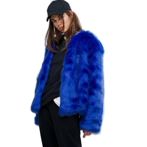 Stylish Gem blue V neck Long Hairy Shaggy Faux Fox Fur Jackets Winter Woman Long sleeve Loose Faux Fur Short Coat Outerwear