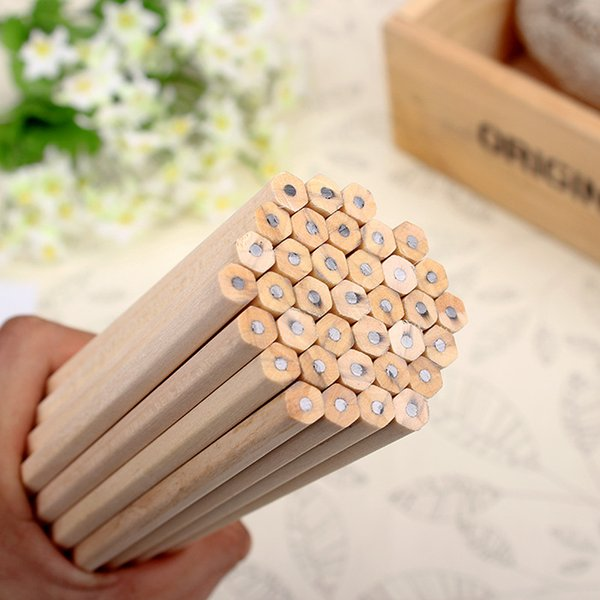 Eco-friendly Natural Wood Pencil HB Black Hexagonal Non-toxic Standard Pencil Cute Stationery Office School Supplies 30pcs/lot