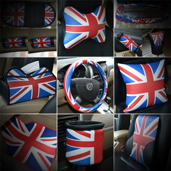 Blue Union Jack Auto Interior Accessories Car Seat Belt Cover Pad Neck Pillow Waist Support Steering Wheel Cover For Mini Cooper