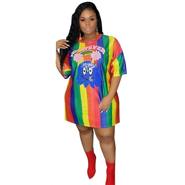 new women dress short sleeve o-neck cartoon floral letter sequins splicing rainbow strips loose tee dress fashion vestidos