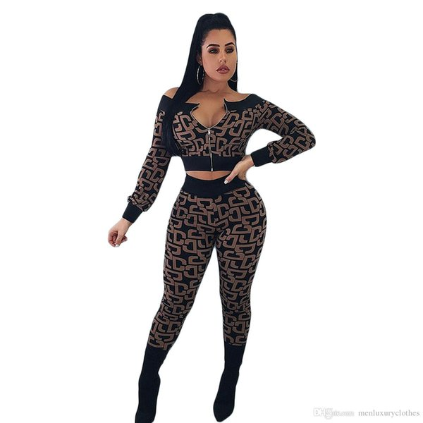 Women Sexy Designer Luxury Suits Fashion Brand Design Tops Pants 2pcs Clothing Sets TWO Piece Pants Outfits
