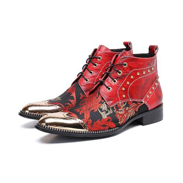 Men Short Boots Metal Tip Toe Black Leather Male Work, Safety Cowboy Men botas hombre Buckle shoes