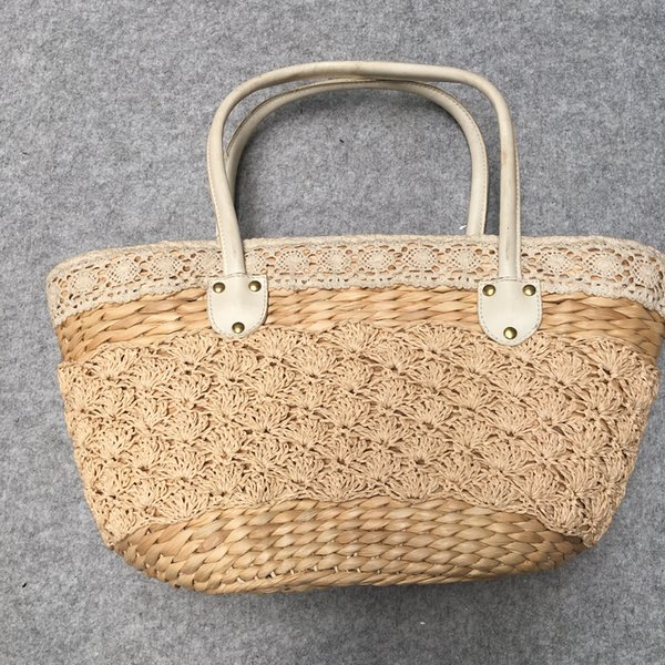 Straw plaited leather handle handle large capacity paper rope braid hand carry bag of restoring ancient ways to go vacationing beach female