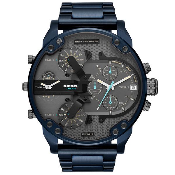 Com Caixa Original Homem Moda de Luxo Relógios Desportivos Homens Relógios De Pulso 50 MM Multi Fuso Horário Montre Homme Azul Atmos Relógio DZ 7414 Relógio