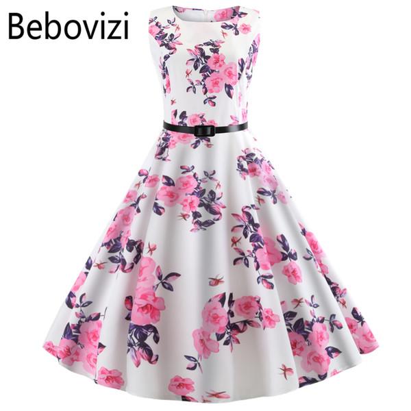 Women Summer Dress 2018 Clothing Floral Robe Femme Tunic Casual Elegant Vintage Rockabilly Midi Dresses Swing Vestidos Plus Size Y19051001