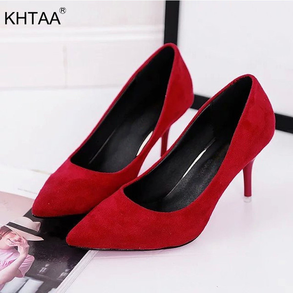 2019 KHTAA Women Pumps Faux Suede High Heels Female Office High Heel Shoes Classic Pointed Toe Shallow Dress Shoes Ladies Plus Size