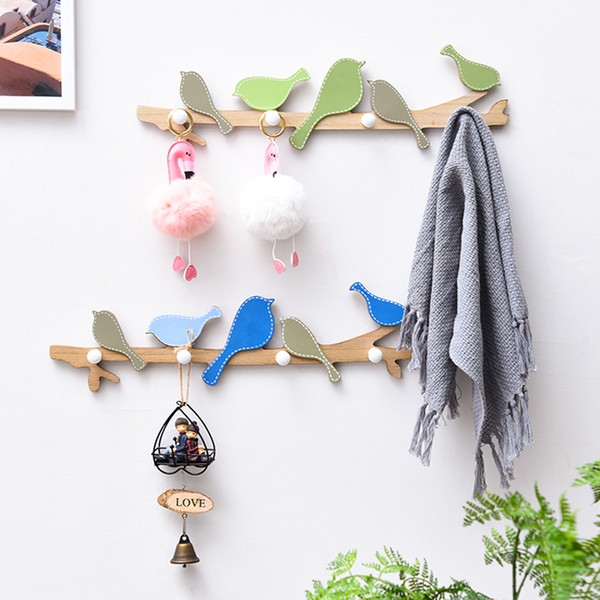 Clothes Hanger Children Bedroom Living Room Wall Door Hanging Decorations Creative Home Interior Decor Bird Wood Coat Hook Rail HY0041