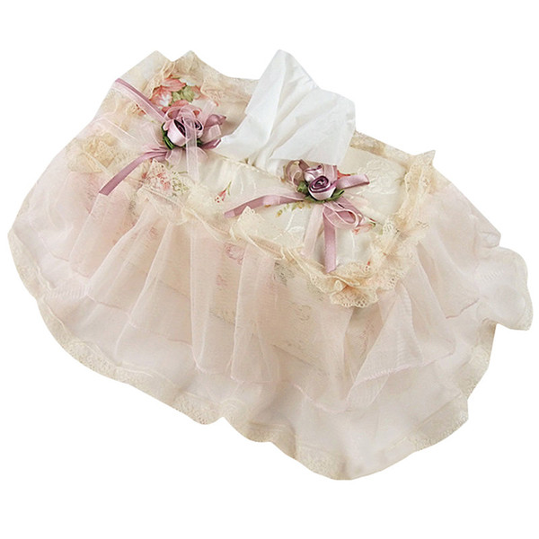 Fashion Embroidery Towel Box Cover Tissue Paper Towels Box Cover Bathroom Ware Pink Mary Pastoral Lace Fabric