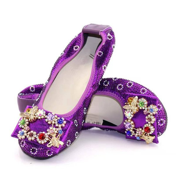 Beautiful purple women flats cover shoes with nice crystal flower style decoration african lady dress shoes V236