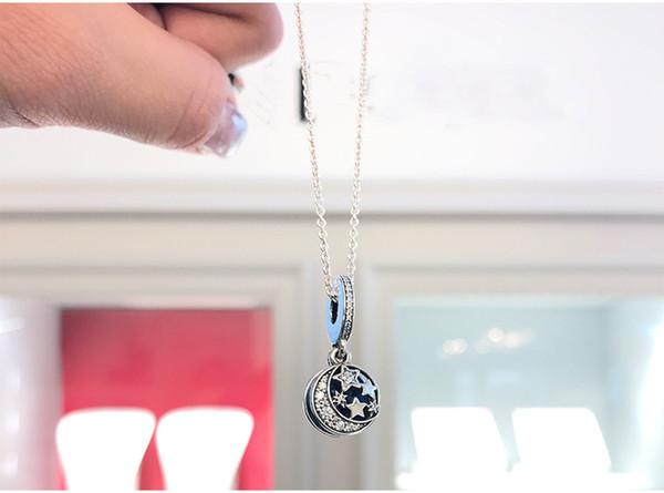 2019 novo designer de luxo jóias mulheres colar encantos de pandora estrela do mar 925 colar de prata retro night sky clavícula pingente