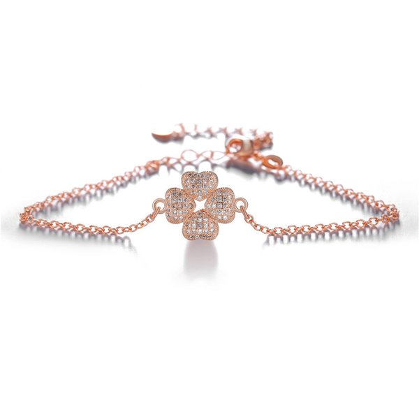 fashion simple copper micro-inlaid zircon four-leaf clover shape adjustable size fashion lucky bracelet necklace jewelry chain
