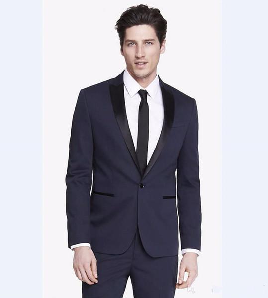 New Classic Design Groom Tuxedos Groomsmen Navy Blue Peak Lapel Best Man Suit Wedding Men's Blazer Suits (Jacket+Pants+Tie) 1257