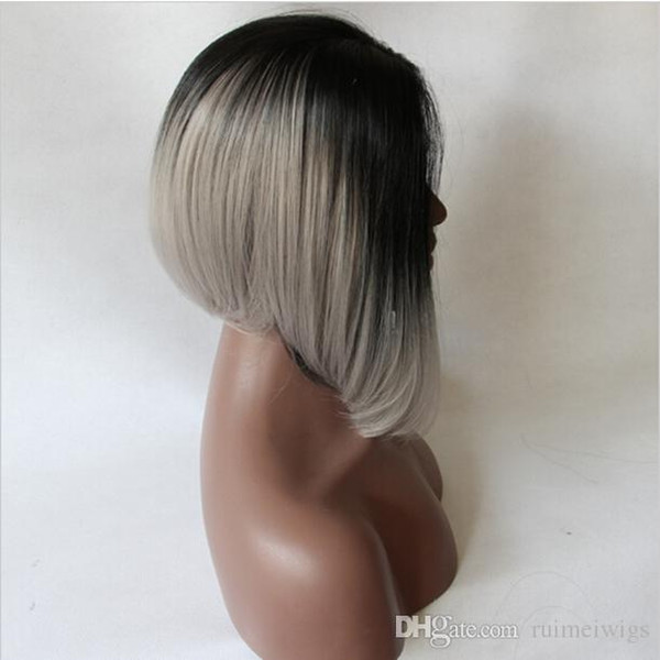 Dark Root Ombre Gray Short Bob Wig Black/Silver Synthetic Lace Front Wig Grey Short Bob Glueless Swiss Lace Wigs For Black Women