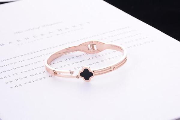Europeus e Americanos tendência grandes pulseiras de aço de titânio 18k ouro rosa com diamante de quatro folhas fecho pulseira de moda selvagem presente feminino 213