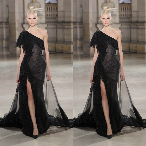 Tony Ward 2019 Black Evening Dresses One Shoulder Lace Side Split Glitters With Tulle Overskirts Mermaid Prom Gowns Plus Size Party Dress