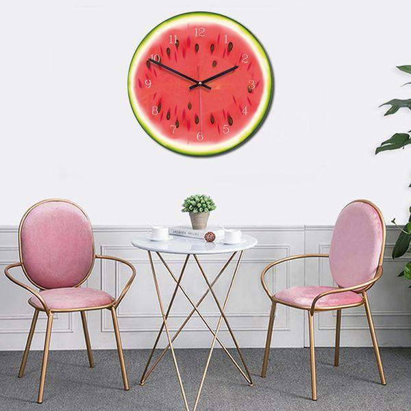Acryl Zifferblatt Obst Wanduhr Nicht tickt Uhr Wohnzimmer Küche Schlafzimmer Büro Dekor HEIßER 2019