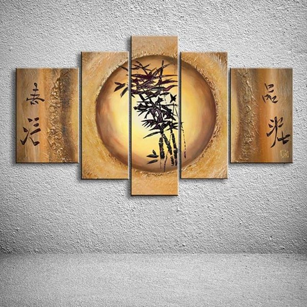 Hand Painted Chinese Bamboo Oil Painting On Canvas Modern Home Decor Wall Art Abstract Acrylic Paintings 5 Panel Pictures Paper