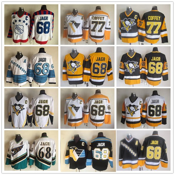 Jahrgang 68 Jaromir Jagr 77 Paul Coffey Pittsburgh Penguins Washington Capitals schwarz weiß gelb Eishockey Trikots