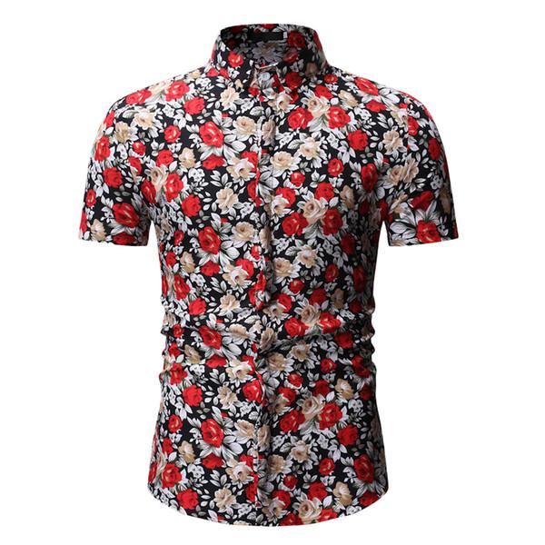 Camisa hawaiana con estampado de flores casual para hombre 2019 Nueva camisa floral de manga corta Camisas de playa de verano para hombres Chemise