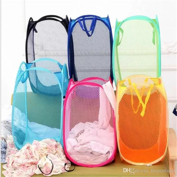 Mesh Fabric Foldable Pop Up Dirty Clothes Washing Laundry Basket Bag Bin Hamper Storage for Home Housekeeping Use Storage Baskets 201851120