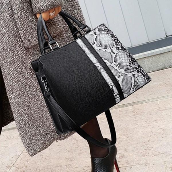 Women Solid Color Big Handbags Purses Ladies Chain Hand Bag Female Shoulder Bags Black Crossbody Bags High Capacity Serpentine