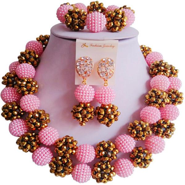 Set di gioielli di collana di cristallo del partito africano della pesca di colore dell'oro di vendita calda per le donne e le ragazze 2C-ZZSJ-12