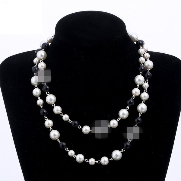 New 4 Styles 2 Layers Pearls Sweater Necklace Necklaces Office Free Lady Perfume Number 5 Women Neckless Long Necklace Collares