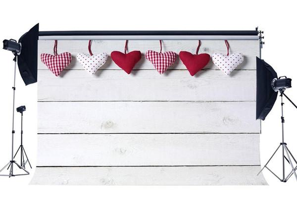 Hintergrundfotografie des Valentinstags-Hintergrund-Schatze-Weiß-Streifen-Holzfußboden-Hochzeits-Hintergrund