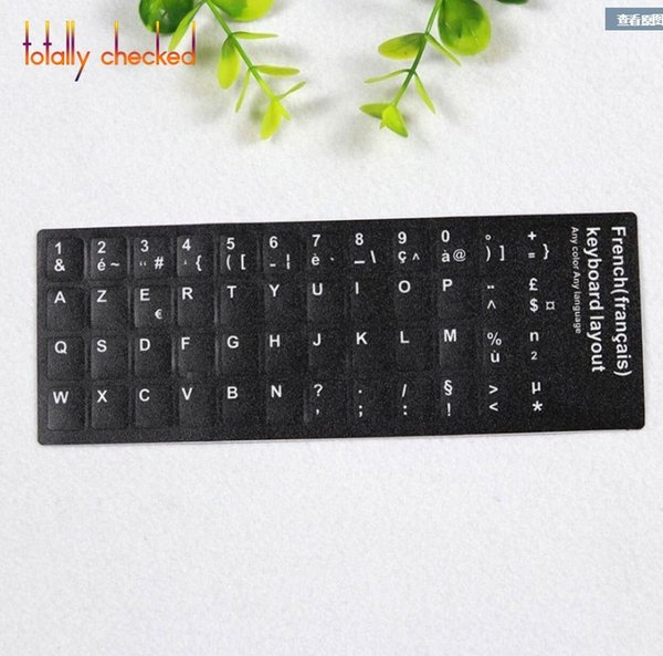 50PCS/Pack Arabic Spanish Portuguese Russian French English Keyboard Sticker Russia Language RU Layout cover Keyboard Key black