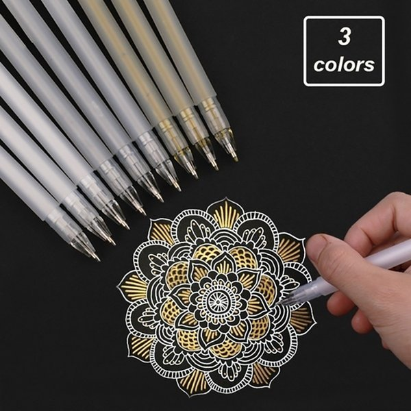0.6mm Premium White Gel Pen Line Fine Tip Sketching Pens for Artists Drawing Design Illustration Art Supplies White Gold Silver WJ078