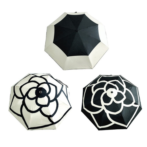 Wholesale luxury Classic Pattern Camellia Flower logo Umbrella 3 Fold Luxury Umbrella (gift Box+ chain Bag) fashion collection item