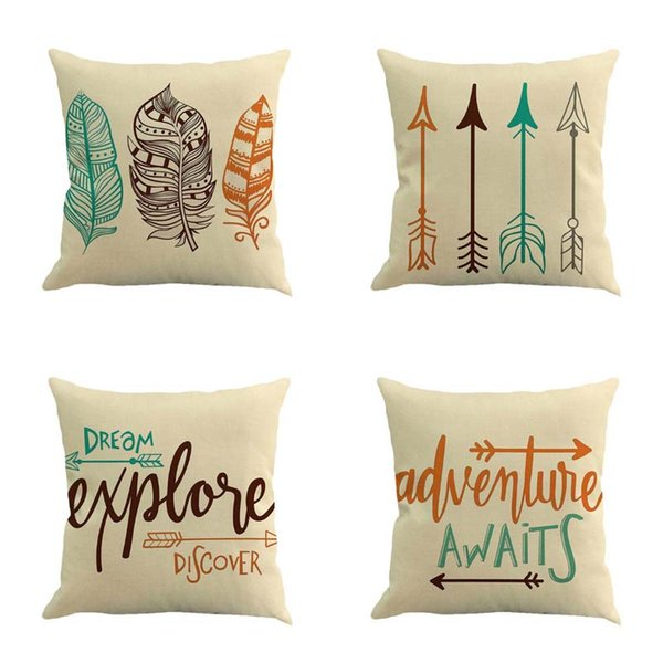30PCS DHL free Cushion covers Retro peacock feather letter compass linen pillow office cushion pillowcase size 45cm*45cm No core