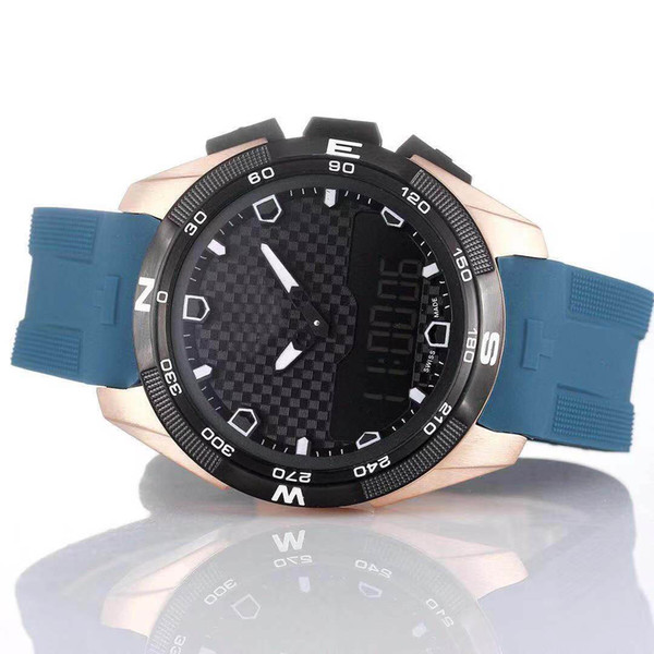 wholesale t-touch expert solar t091 black dial chronograph quartz blue rubber strap deployment clasp men watch wristwatches mens watches, Slivery;brown