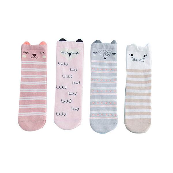 Nuevos calcetines de bebé de dibujos animados de algodón recién nacido Knit Knee High Calcetines de la raya linda Niños Calcetín Casual niñas calcetines diseñador ropa de bebé Infant wear A6183
