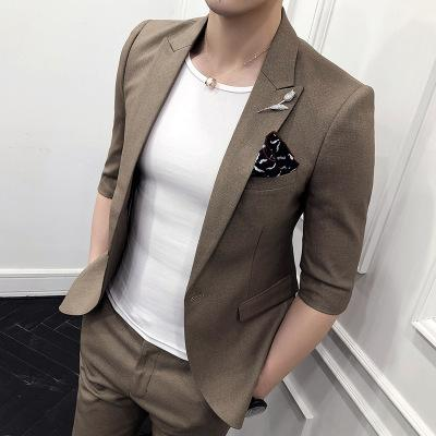 (front + Pants) New Tide Male British Sleeves Small Suit Young Men Slim Suit Social Guys Casual Business Suit Two Sets