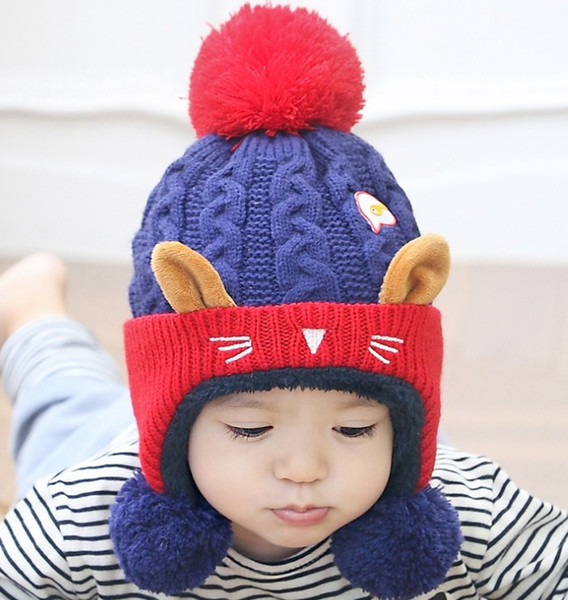 Cute Cat Baby Winter Beanies Hat Warm Knitted Head Cap For Kids Caps Children Boy Girl Infant Skull Caps Embroidered Beanies