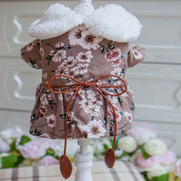 Pet Cotton Warm Dog Down Parkas Flowers Dress Coat for Dog Girls Puppy Autumn Winter Costume with Cap ZX X