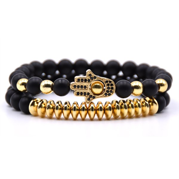 2pcs / set 8mm Matte perles couple de pierres Bracelet hommes CZ paume Charmes Bracelets pour femmes bijoux hommes pulseira
