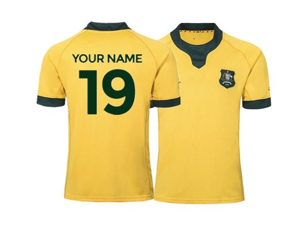 AUSTRALIA RUGBY RWC 2019 HOME JERSEY size S--5XL Custom names and numbers can be printed Top quality Free shipping