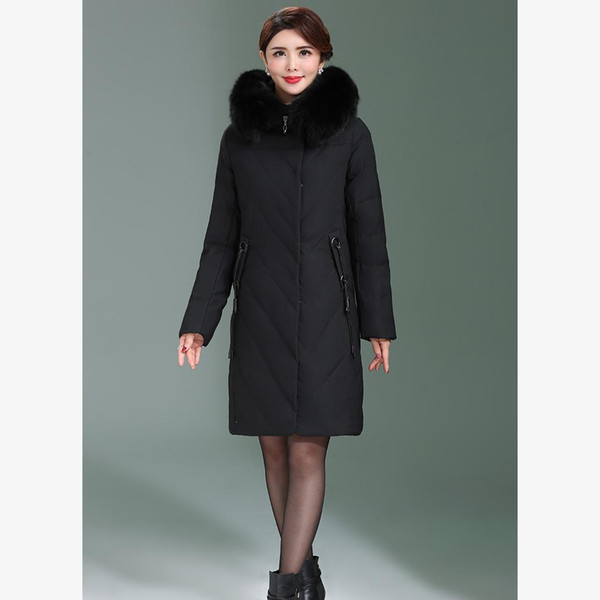 Long Slim Hooded Winter Coat Duck Cotton Warm Oversize Cotton Heavy Jacket Thick Padded Parkas Outwear Coat