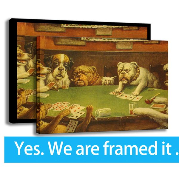 Modern HD Print Canvas Art Painting Dogs Playing Poker Wall Decor Framed Art - Ready To Hang - Support Customization