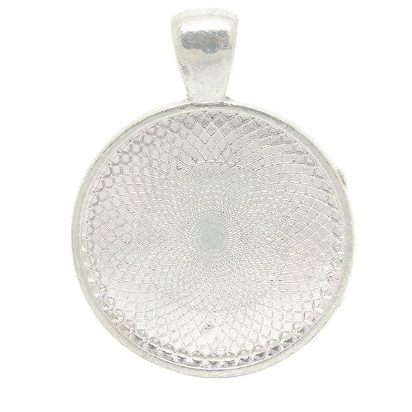 20pcs Trays Making Glass Cabochon Pendant Setting Round Bezel Retro Blank Dome Accessories Base Zinc Alloy Necklace Jewelry