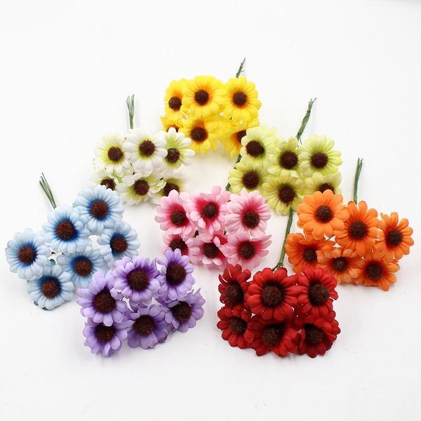 6pcs/lot silk mini cute Artificial flowers cartoon daisy bouquet for wedding home decoration DIY wreath gift box craft flowers