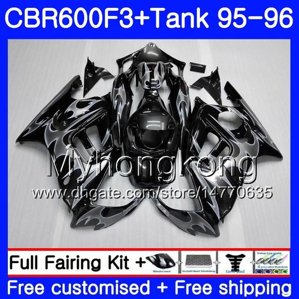 Bodys +Tank For HONDA CBR 600 F3 FS CBR600FS CBR600 F3 95 96 hot Silvery flames 289HM.47 CBR600RR CBR600F3 95 96 CBR 600F3 1995 1996 Fairing