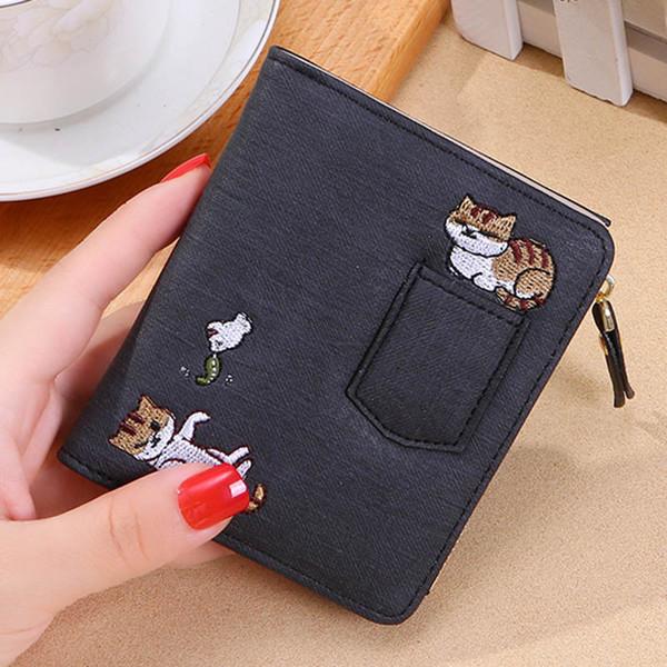 Hot Selling Women Embroidery Cat Wallet Zipper Coin Purse Short Designed Mini Cards Holder Bag -B5