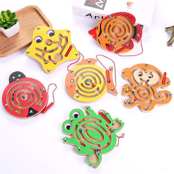 Деревянный лабиринт для детей интеллект игрушки лягушка рыба в форме лабиринта магнитный шарик творческий малыш практичный новый 4 55mp D1
