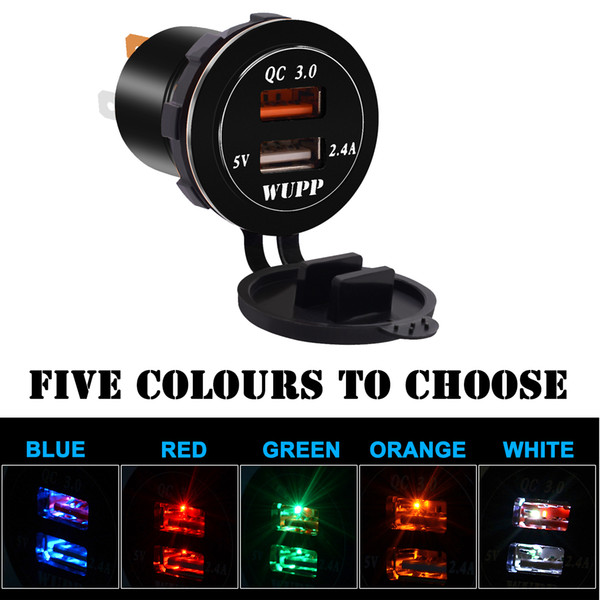 Dual USB Chargers Socket Power Outlet Quick Charge 3 0 & 2 4A Port For Car  Boat Marine Rv Mobile Best Dual Port Usb Car Charger Best Dual Usb Car
